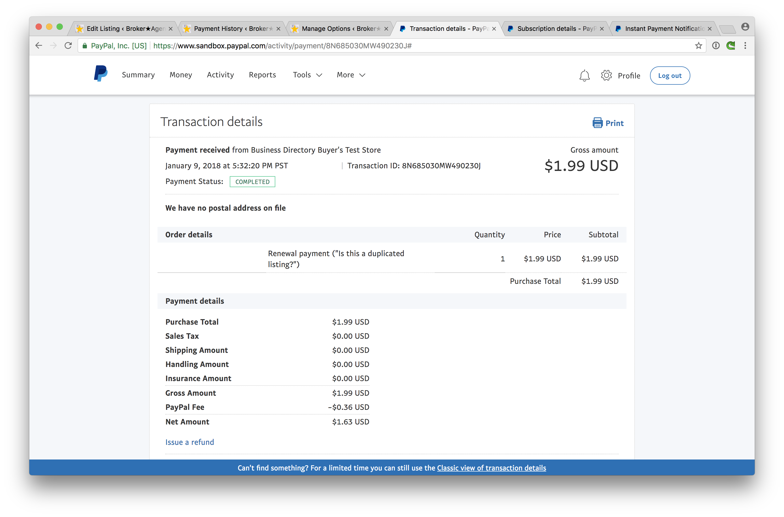 Debugging PayPal payments that appear as Pending after