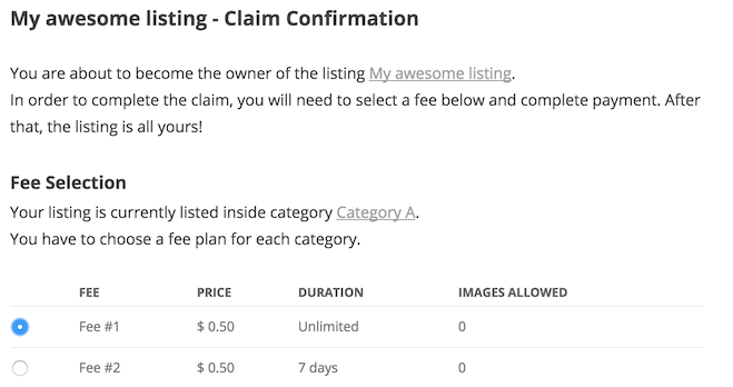 Claim confirmation page